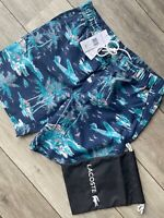 LACOSTE NAVY BLUE FLORAL TROPICAL SWIMSHORTS SHORTS MH4770 - LARGE - NEW & TAGS