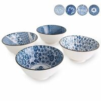 Deep Bowls for Cereal, Soup, Salad, 20-Ounce, Assorted Blue and White Patterns,