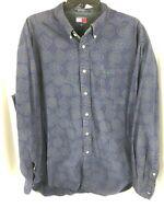 VTG Tommy Hilfiger Mens Button Down Shirt XL Geometric Blue 90s