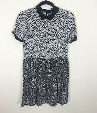 River Island Patterned Dress 8 Aline Tea Floaty Peter Pan Collar Short Sleeves