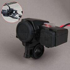 12V Motorcycle Dual USB Port Power Charger Cigarette Lighter Plug Socket Adapter