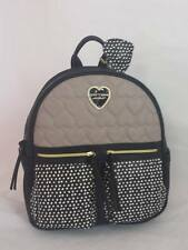 Betsey Johnson 2-Pocket BACKPACK MEDIUM in SPOT Polka DOTS + GRAY Quilted Hearts