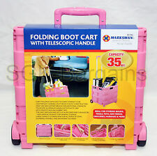 PINK 35KG Folding Boot Cart Shopping Trolley Fold Up Storage Box Crate Foldable
