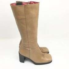 Tommy Hilfiger womens shoes boots high beige size 9M leather heel zip up