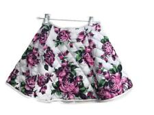 Asos Skirt Flare Short Pink Green Floral Size 6 Polyester Quilted Zipper
