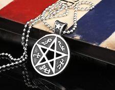 Edelstahl Anhänger Pentagram Satan Luzifer Maja Amulett  Kugelkette 60cm AK8