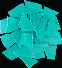 100 pieces of Metallic Turquoise Blue Craft Glass Mosaic Tile by Makena Tile