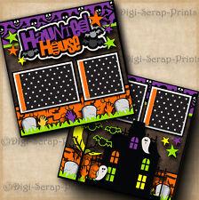 HAUNTED HOUSE ~ HALLOWEEN premade scrapbook pages layout paper piecing DIGISCRAP