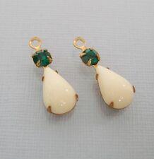 4-Vintage Opaque Ivory Acrylic Pear  Shaped Stone and Round Emerald Rhinestone.