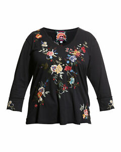 Johnny Was PINA Long Sleeve Embroidery Black Tee Shirt Blouse Flower XXL NEW