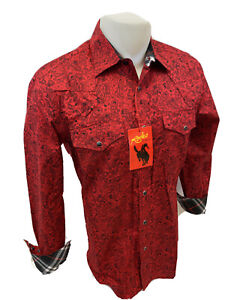 Mens RODEO WESTERN RED BLACK PAISLEY Long Sleeve Woven SNAP UP Shirt Cowboy 105