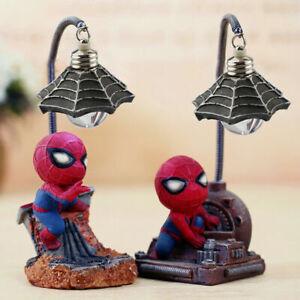 Spiderman Night Mini Light Desk Table Lamp Avengers Children Toy Lamp Decoration
