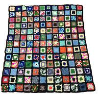 """VTG Granny Square Handmade Crochet Afghan Throw Quilt Blanket Roseanne 65"""" × 60"""""""