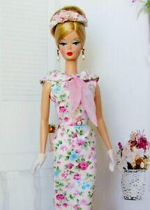 Matisse Barbie Silkstone Fashion Pink Floral Print Dress w Gloves & Headpiece