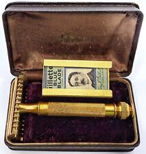 Gillette Aristocrat Gold Tone Safety Razor Original Case Blades - Cracked Handle