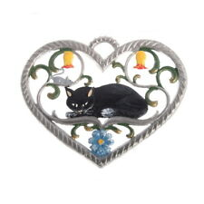 Pewter Pendant, Heart with Cat 6 x 7 cm - Wilhelm Schweizer