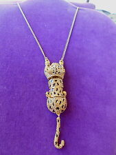 Betsey Johnson Authentic NWT Gold-Tone Pave Leopard Pendant Necklace