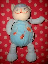 I # peluche doudou chat  DOU KIDOU doukidou bleu turquoise poissons rouges 27 cm
