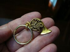 (M-208-C) Holton FRENCH HORN music KEY CHAIN 24k gold plate horns keychain ring