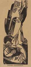 CONRAD FELIXMÜLLER - Mutter mit Kind - Holzschnitt 1918