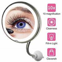 10X Grossissant Miroir Cosmétiques Miroir de maquillage lumineux flexible 360°