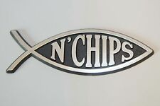 Fish N'Chips Car Emblem Plaque Silver Finish