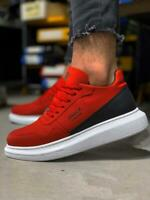 Knack 040 Sneakers Rot | Weiße Sohle | Herren Turnschuhe | Freizeit Herrenschuhe