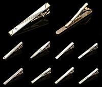 Mens Slide-On-Tie Bar Clip Pin Wedding Gift, 6CM, Gold Silver, Rhinestone