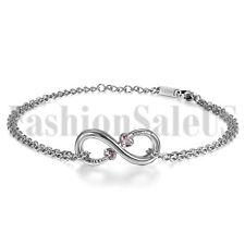 Womens Charm Infinity Stainless Steel Chain w/ 2 Love Heart CZ Anklet Bracelet