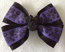 """Girls Hair Bow 4"""" Wide The Haunted Mansion Purple Black Minnie French Barrette"""