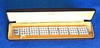 Antique French Art Deco Trillion Diamond Pearl Serial Number Platinum Bracelet