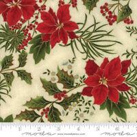 Gilded Greenery Fabric Moda Gold Metallic Poinsettias Christmas Premium Cotton