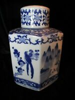 CHINESE LARGE BLUE & WHITE BIRDS FLOWERS CHINESE SCENE GINGER JAR ABOUT 11 1/2""