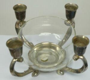Romanian Glass Bowl Centrepiece Four Arm Candelabra Candle Holder