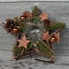 Holzkranz champagner Windlicht Advent Adventskranz Weihnachten Holz Tischdeko