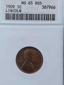 1909 ANACS GRADED MS65RED LINCOLN WHEAT CENT NO PROBLEM TO CROSSOVER TO PCGS