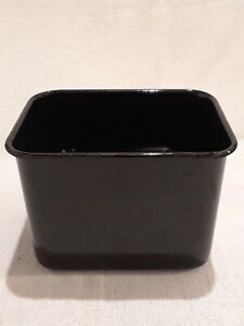 Vintage Black Porcelain Covered Metal Kitchen Pan Dish Bowl Trinket Refrigerator