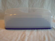 TUPPERWARE RECTANGLE CAKE CUPCAKE TAKER KEEPER SAVER CONTAINER #1361 Handle Blue