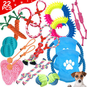 22Pcs Pet Dog Rope Chew Toy Set Puppy Durable Cotton Toys Clean Teeth Bite Ball