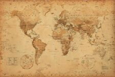 VINTAGE WORLD MAP, Rustic Antique Version, Size 24x36