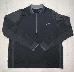 Mens Nike Golf Black 1/4 Zip Jacket tour performance Black EUC SZ 2XL