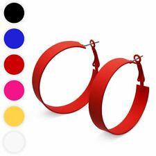1 Paar Creolen Ohrringe gelb blau schwarz rot weiß pink Metall 80er Jahre Style