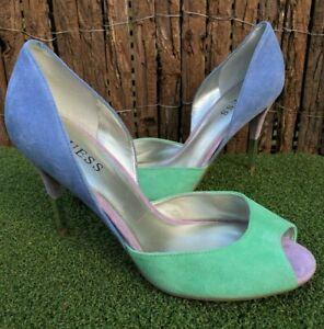Women's peep toe suede heels GUESS LORETA size 8 M RRP$149 - baby blue/green