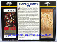 DALLAS COWBOYS vs DOLPHINS Willabee & Ward 22KT GOLD SUPER BOWL 6 TICKET ~ SB VI