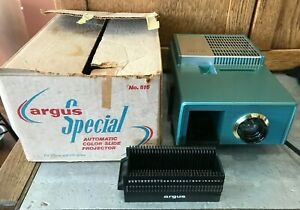 Vtg Argus Special No. 515 55 Automatic Color Slide Projector w/ Tray & Box WORKS