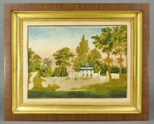 Antique Georgian Silk Needlework Embroidered Landscape Southern Estate Painting