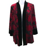 Chicos Travelers Womens Sz 1 Kimono Jacket Reversible Black Red Velvet Sz 8/10