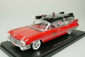 CADILLAC SUPERIOR AMBULANCE - CHICAGO FIRE DEPARTMENT - 1959 RED 1/43 NEO 49597