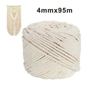 Natural Beige Cotton Macrame Rope Twisted Cord Artisan Hand Craft 4mm