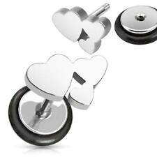 316L Surgical Steel Fake Ear Plug Tunnel with Heart Cluster